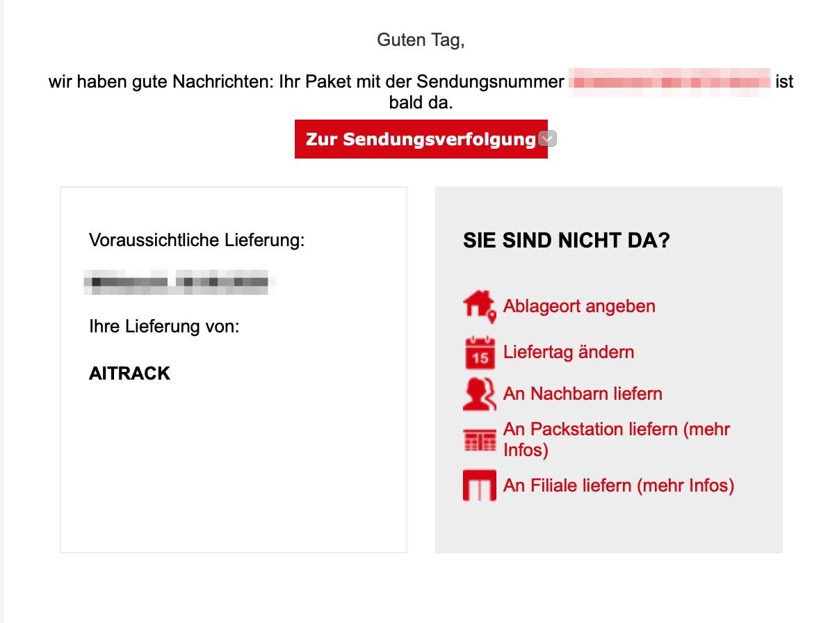 Screenshot der E-Mail von DHL