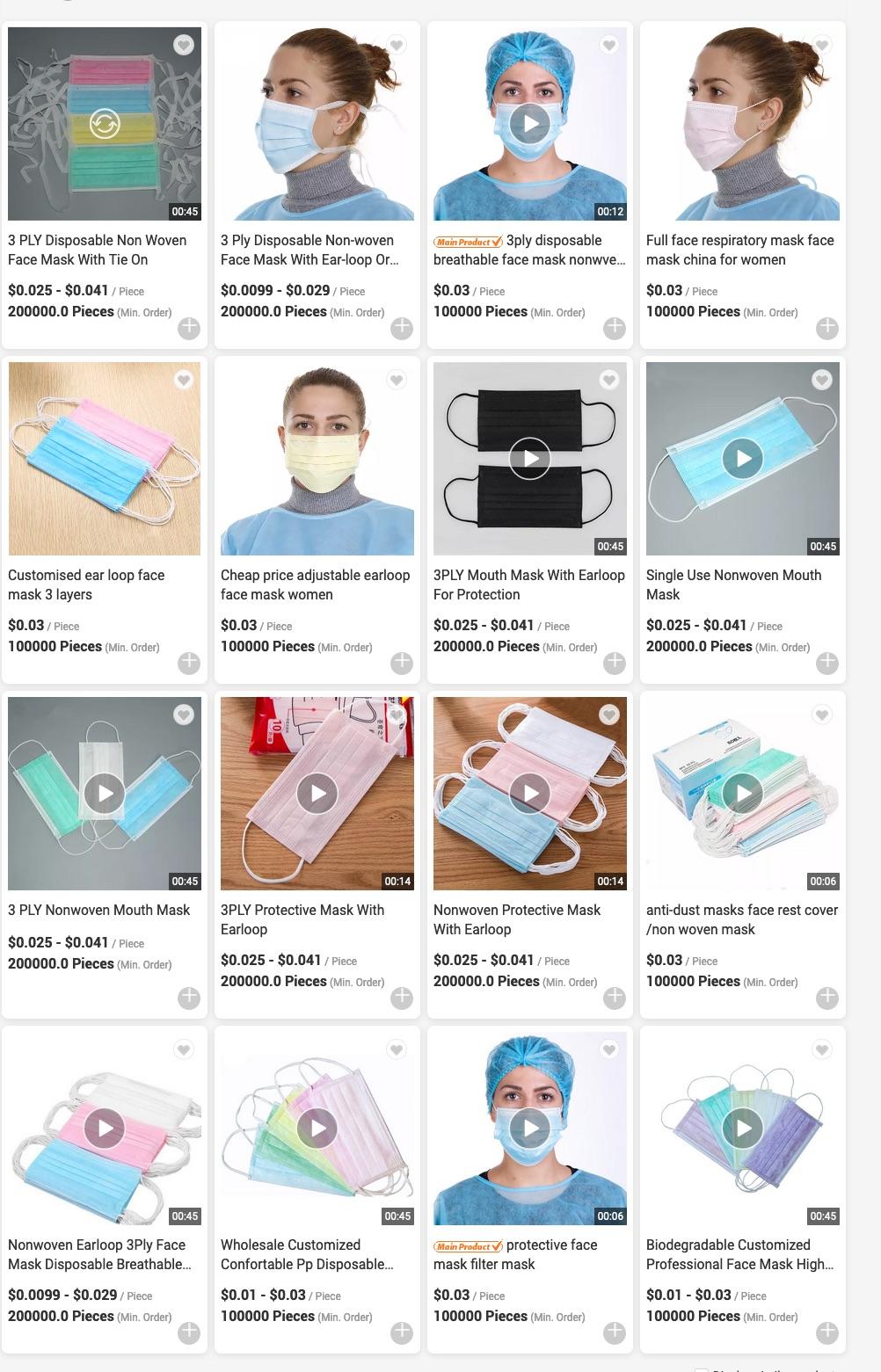 Preise für Masken eines Anbieters aus der gleichen Stadt