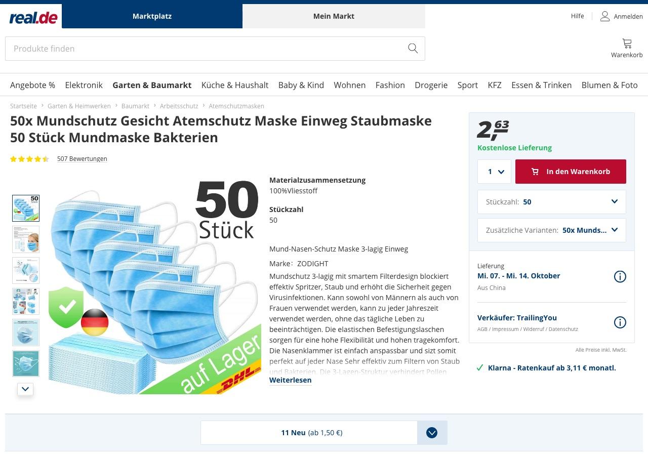 50 Masken für 2,64 Euro – Das Angebot aus Real.de