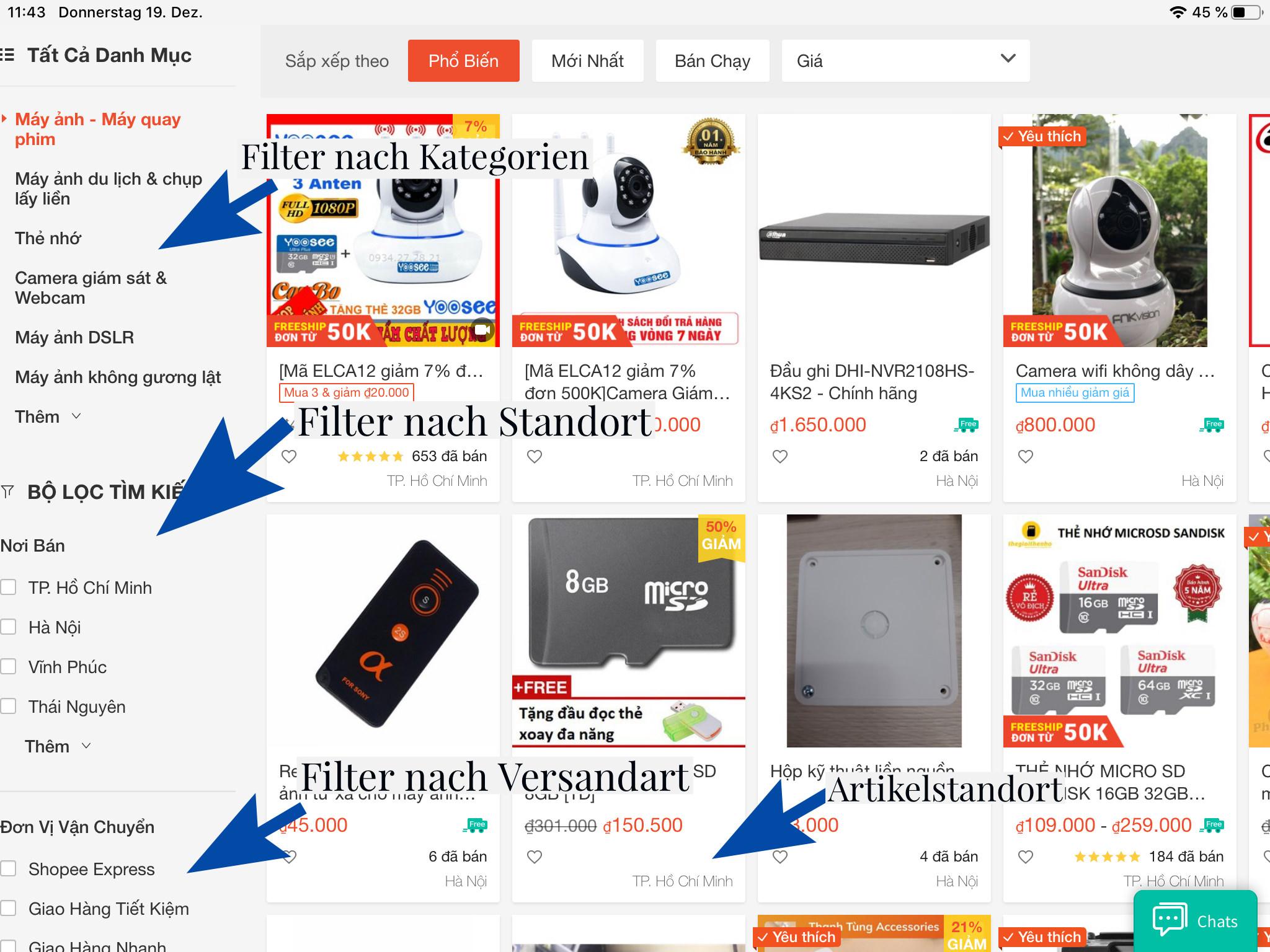 Suche auf der Shopee-Website